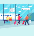 people sitting and walking in airport vector image