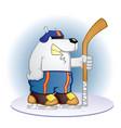 polar bear hockey player cartoon vector image vector image