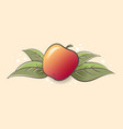 ripe apple fruit and leaves vector image vector image