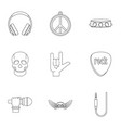 rock musician icon set outline style vector image vector image