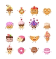 Set of Funny Dancing Sweets in Flat Design vector image vector image
