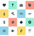 set of simple casino icons vector image vector image