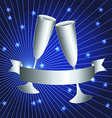 Silver cups and ribbon banner vector image