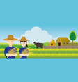 thai farmer with rice and paddy field background vector image vector image