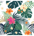 tropical pattern seamless white background vector image vector image
