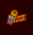 typography basketball slam dunk sport retro style vector image