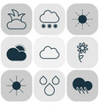 world icons set with rain sun raindrop and other vector image vector image