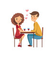 young loving couple sitting in restaurant pink vector image