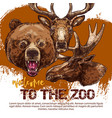zoo animal banner with sketched bear dear and elk vector image vector image