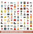 100 vogue magazine icons set flat style vector image vector image