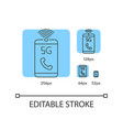 5g mobile network blue linear icons set vector image