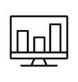 analytics on screen line black icon vector image vector image
