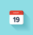August 19 Isometric Calendar Icon With Shadow vector image vector image
