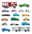 Big Set of wheeled transport in Flat design vector image
