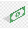 bill dollar isometric icon vector image