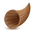 brown wicker empty cornucopia basket vector image vector image