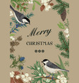 card with birds and evergreens vector image vector image