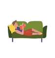 caucasian man relaxing with a book on couch vector image