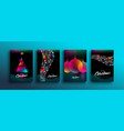 christmas new year color holographic neon card set vector image vector image