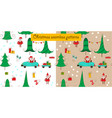 christmas seamless patterns with santa and a car vector image vector image