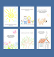 collection of cards with kids sketch in doodle vector image vector image