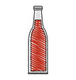 color crayon stripe cartoon bottle glass of vector image