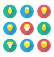 colorful light bulbs flat icons set vector image