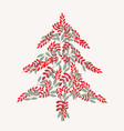 cream christmas tree and leaves pattern vector image