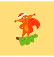 Cute Squirrel on a Branch Christmas vector image