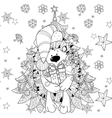 doodle hand drawn xmas hedgehog with gift box vector image vector image