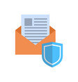 envelope with shield icon mail data protection vector image vector image