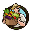 farmer with a basket full of fresh vegetables vector image vector image