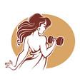 fitness goddes female gym logo template vector image