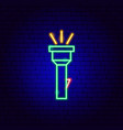 flashlight neon sign vector image vector image