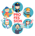 flat profession avatars round concept vector image