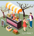 flea market isometric background vector image vector image