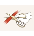 Hand with scissors vector image vector image
