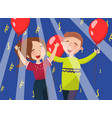 happy man and woman celebrating with red balloons vector image vector image