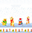 holiday seamless borders set with christmas cats vector image