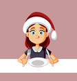 hungry girl ready to eat at christmas dinner vector image
