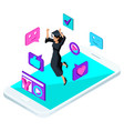 isometric girl graduate jumping is happy vector image vector image