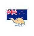 Kiwi Bird NZ Flag Woodcut vector image
