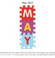 May 2017 puzzle calendar vector image vector image