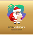 merry christmas card santa claus with bag vector image vector image