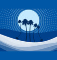 night landscape with palm trees on beach dots vector image vector image
