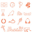 orange brazil outline icons and symbols set eps10 vector image vector image