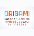 origami style modern font folded paper ribbon vector image vector image