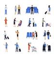 pilot and stewardess flat icons set vector image