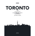 poster city skyline toronto flat style vector image vector image