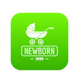 pram icon green vector image